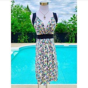 BCBG Maxazria Geometric Print V-neck Dress XS